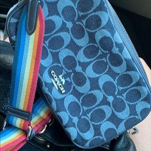 Coach crossbody with rainbow strap adjustable
